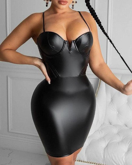 Spaghetti Strap Zipper Design PU Leather Bodycon Dress