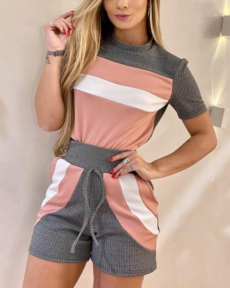 Casual Colorblock T-shirt & Shorts Set