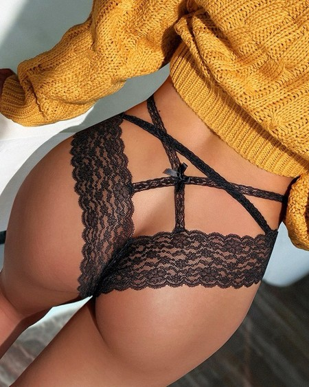 Lace Trim Cutout Bowknot Design Panty