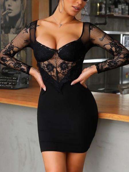 Sheer Eyelash Lace Bodice Bodycon Dress