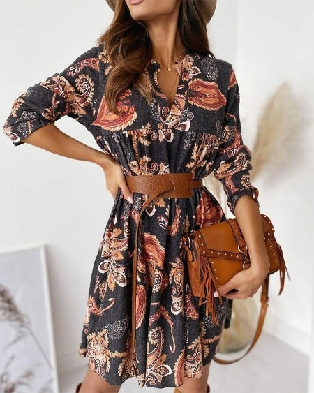 Floral Long Sleeve Skinny Waist Mini Dress