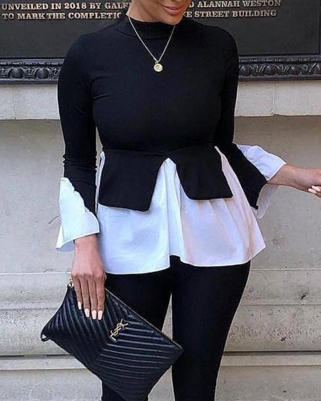 Layered Contrast Long Sleeve Top