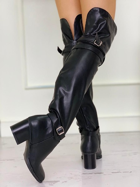 Pointed Toe Over The Knee Chunky Heeled Boots