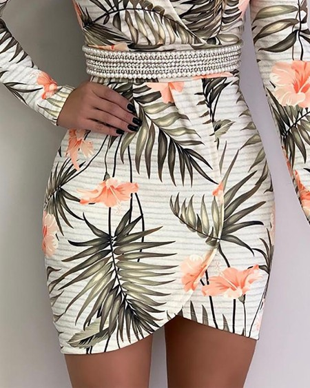 Botanical Print Long Sleeve Irregular Dress