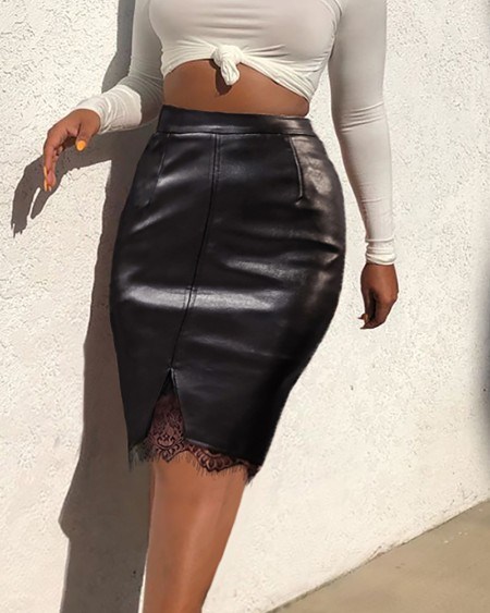 Eyelash Lace High Waist PU Leather Skirt