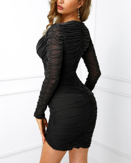 Surplice Wrap Ruched Bodycon Dress