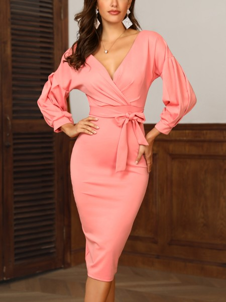 Lantern Sleeve Belted Off Shoulder Dress