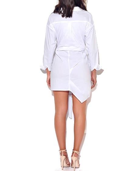 Solid Drape Design Shirt Dress