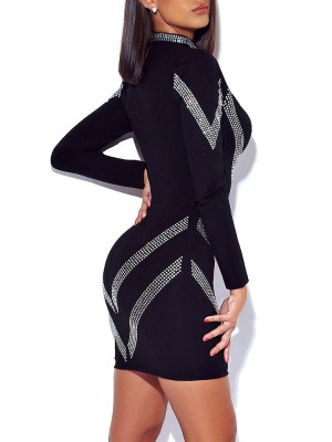 Deep V-Neck Gem-Studded Bodycon Dress