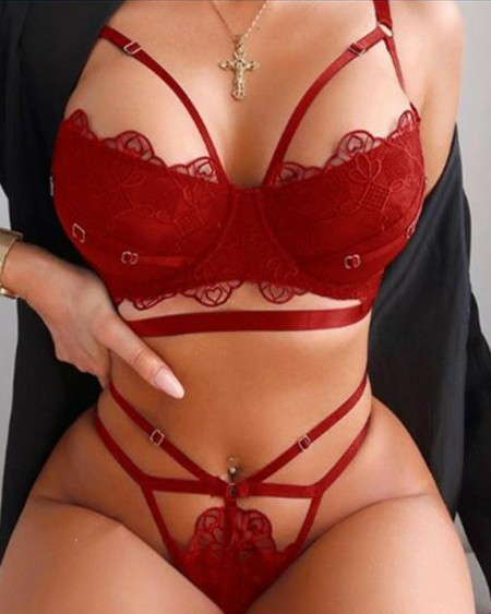 Solid Color Hollow-out Splicing Lace Bra Sets
