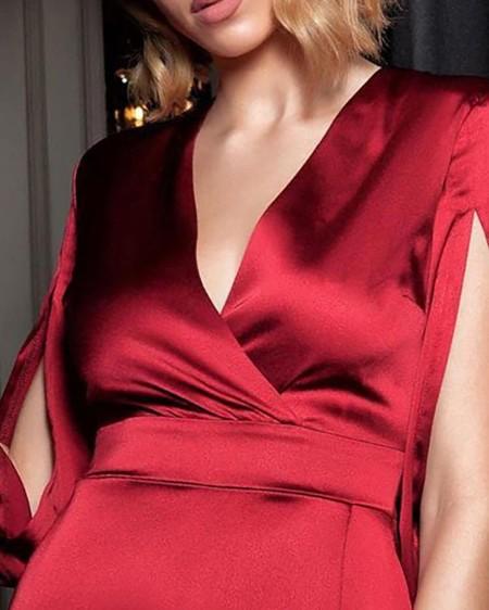 Billowing Split Sleeve V-Neck Satin Dress