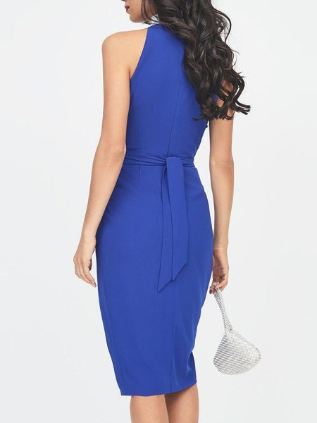 Studded Neck Open Front Belted Dress