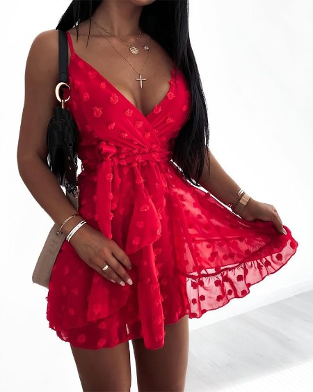 V Neck Belt Design Mini Dress