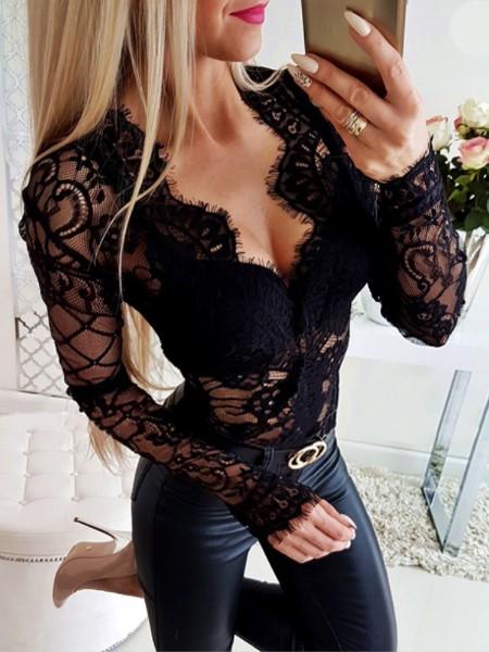 Sheer Eyelash Lace Long Sleeve Bodysuit