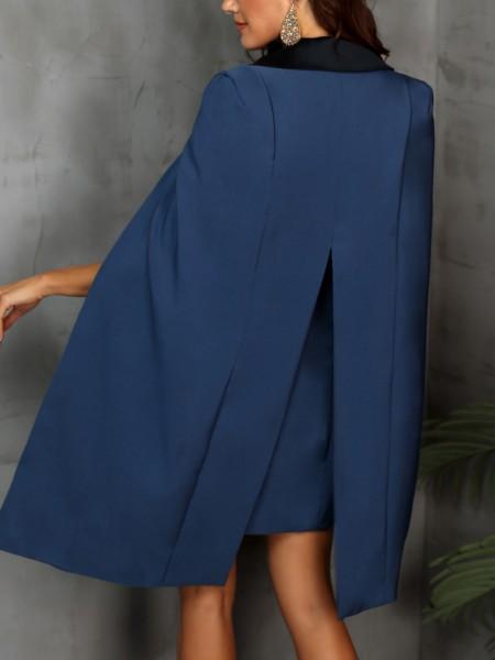 Two Tone Cape Sleeve Slit Dress