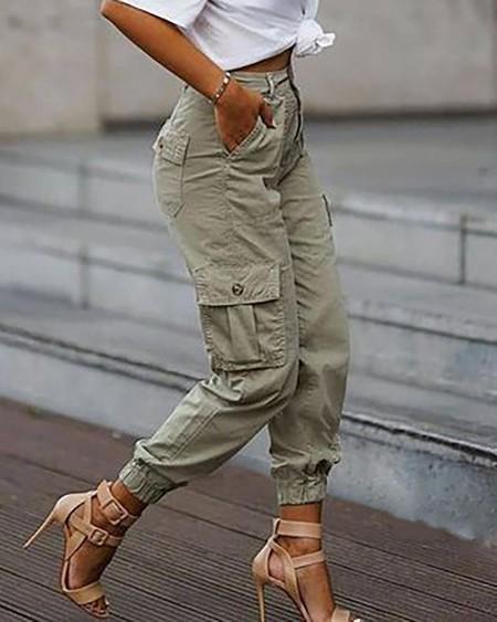 Plain Pockets Design Cargo Pants