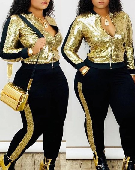 Sequins Zipper Design Striped Tape Top & Fitted Pants Set