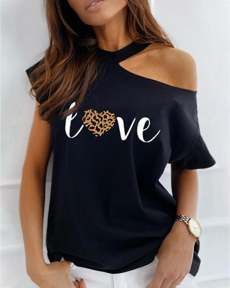 Cold Shoulder Leopard Letter Print T-shirt