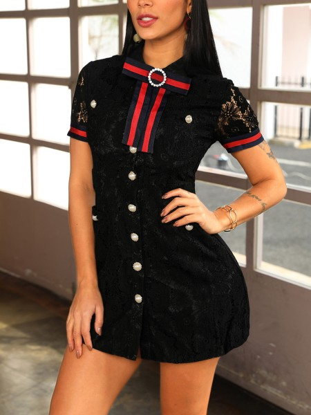 Contrast Striped Button Embellished Lace Dress