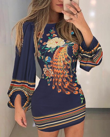 57ce82ffee4c Peacock Print Cutout Back Bishop Sleeve Dress ...