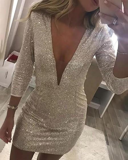 Glitter Plunge Sequins Bodycon Dress