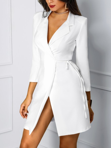 Solid Deep V Wrapped Blazer Dress
