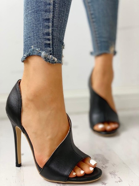 PU Cutout Peep Toe Thin Heeled Sandals