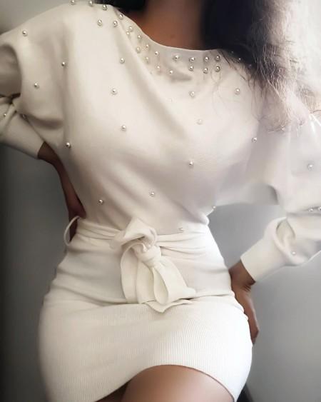 Beaded Batwing Sleeve Knit Long Sleeve Dress