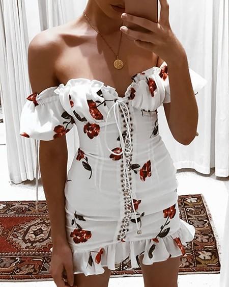 Off Shoulder Print EyeletLace-up Ruffles Dress
