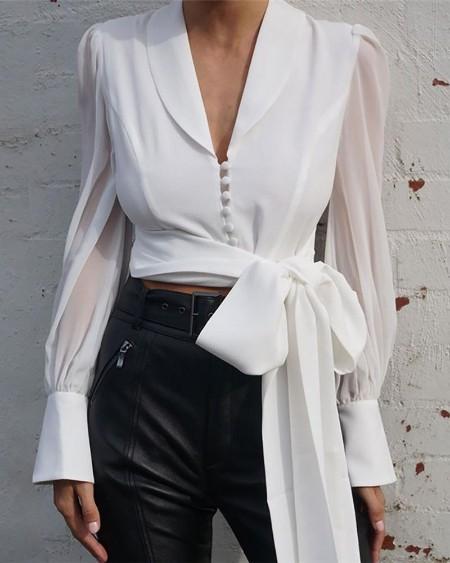 Solid Lantern Sleeve Single Button Tied Shirt