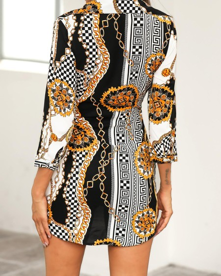 Chain Print Self-Belted Shirt Dress