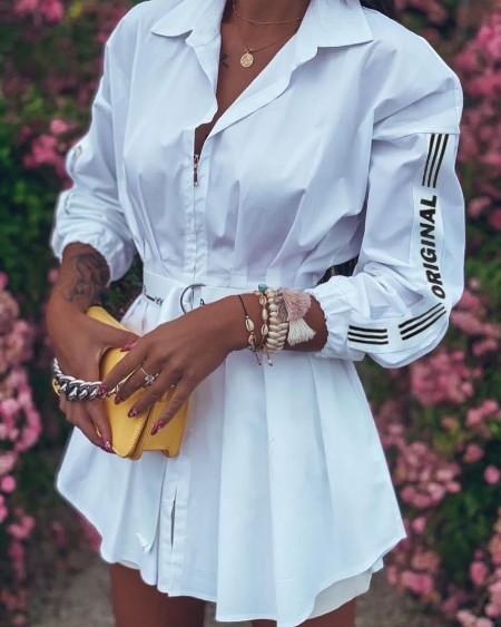 Brief Patchwork Pleated Zipper Dress