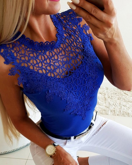 Hollow Out Crochet Lace Casual Top