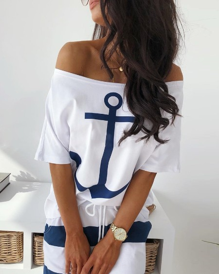 Off Shoulder Boat Anchor Print T-Shirt
