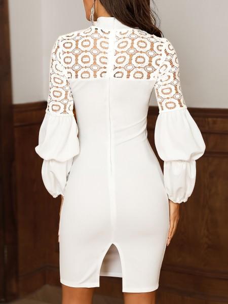 Tie Neck Lace Yoke Puff Sleeve Dress