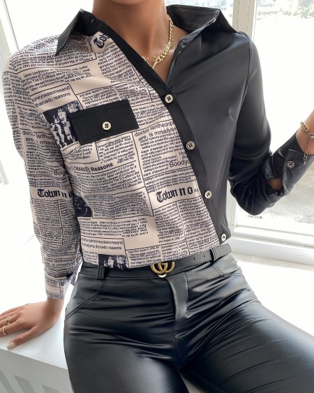 Letter Print Long Sleeve Buttoned Up Shirt