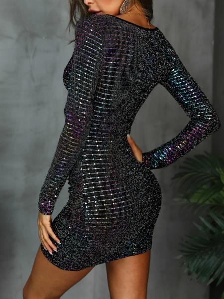 Surplice Front Colorful Sequin Party Dress