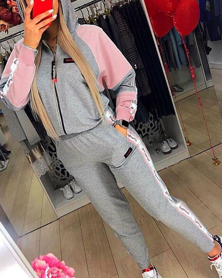 Colorblock Long Sleeve Loose Hooded Sweathirts Suit Sets