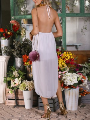 Solid Halter Side Slit Backless Casual Dress