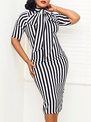 Striped Tie Neck Bodycon Dress