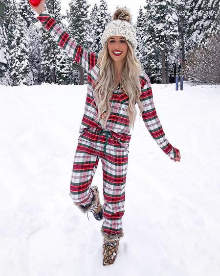 Christmas Plaid Print Casual Pajamas Set