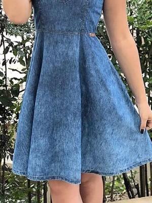 Keyhole Neck Pleated Mini Denim Dress