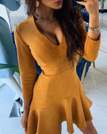 Ruffles Long Sleeve Plunge Dress