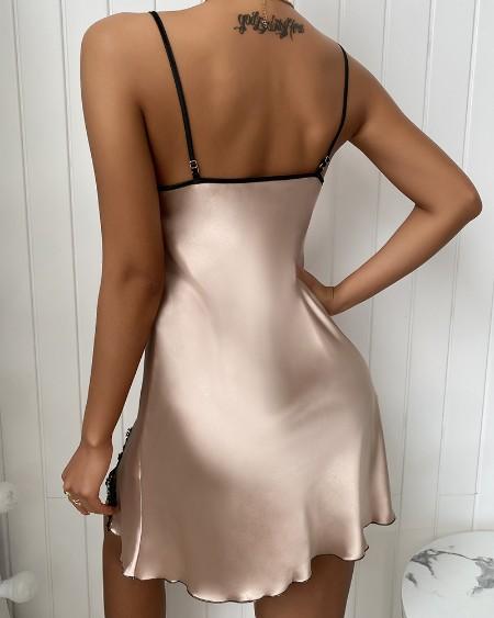 Lace Trim Satin Sleepwear Cami Dress
