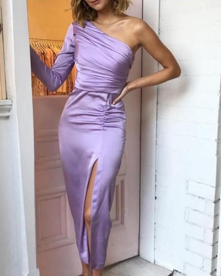 boutiquefeel / One Shoulder Ruched Slit Bodycon Dress