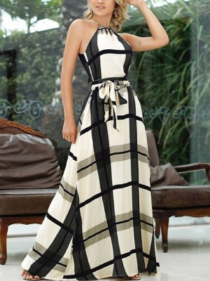 Plaid Print Halter Self Belted Maxi Dress