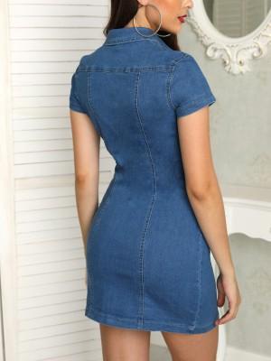 Denim Button Through Pocket Bodycon Dress