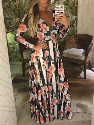 V-Neck Floral Print Pleated maxi Dress