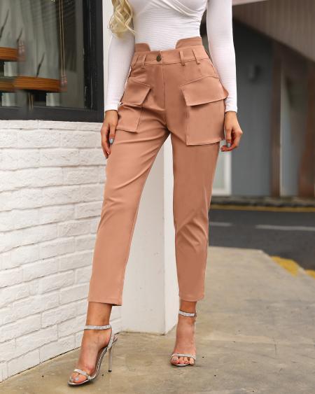 boutiquefeel / High Waist Pocket Design Cargo Casual Pants