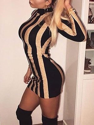 Stripes Bodycon Mini Dress